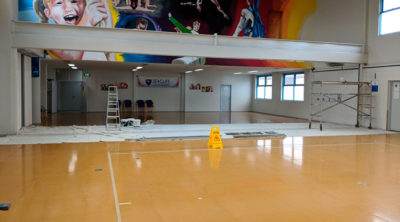 Seacliff Recreation Centre - new partition wall project - being painted