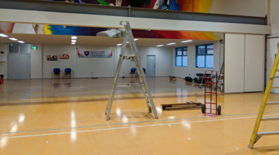Seacliff Recreation Centre - new partition wall project - day 4